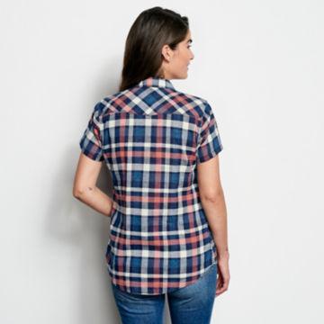 Lightweight Washed Indigo Plaid Short-Sleeved Shirt -  image number 2