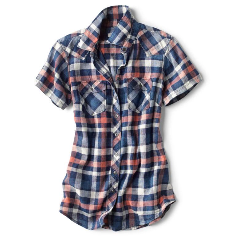Lightweight Washed Indigo Plaid Short-Sleeved Shirt -  image number 4