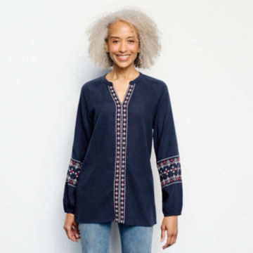 Long-Sleeved Embroidered Popover Shirt -  image number 0