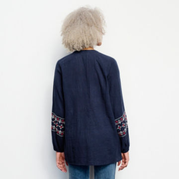 Long-Sleeved Embroidered Popover Shirt -  image number 2