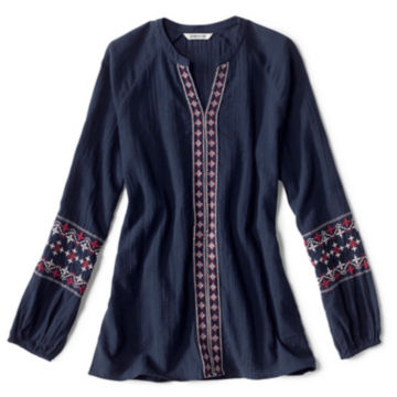 Long-Sleeved Embroidered Popover Shirt -  image number 4