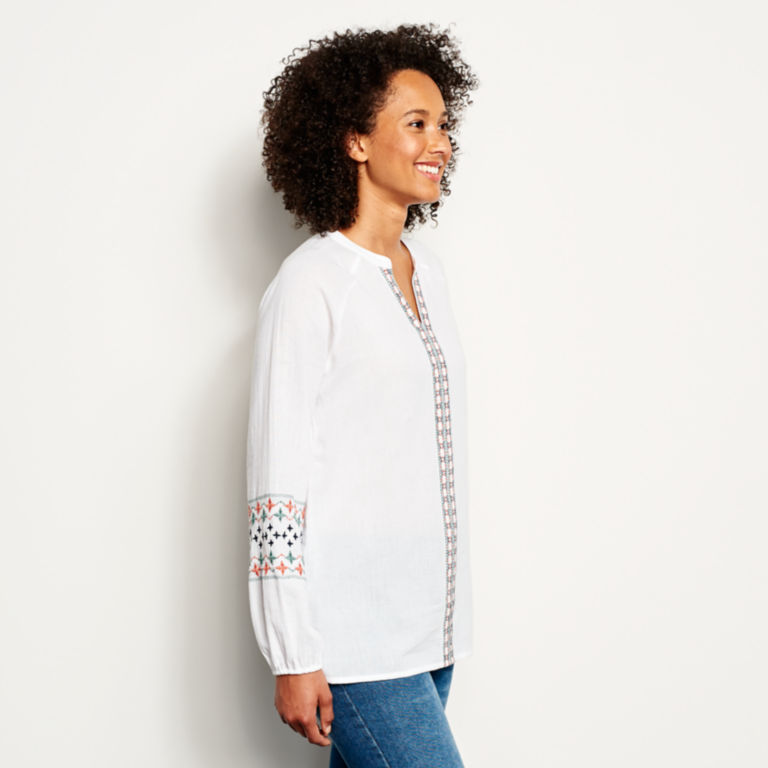 Long-Sleeved Embroidered Popover Shirt -  image number 1