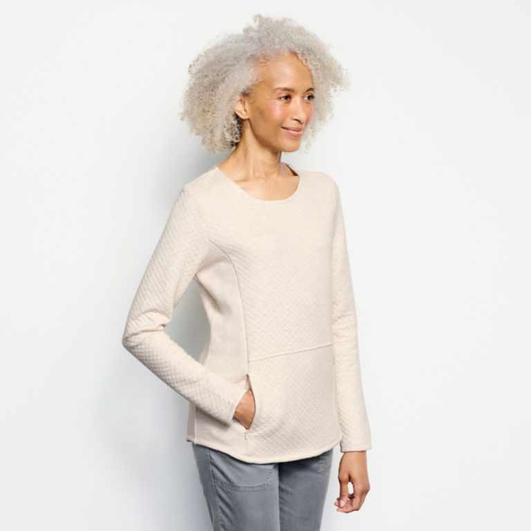 Placed Quilted Crew Sweatshirt -  image number 1