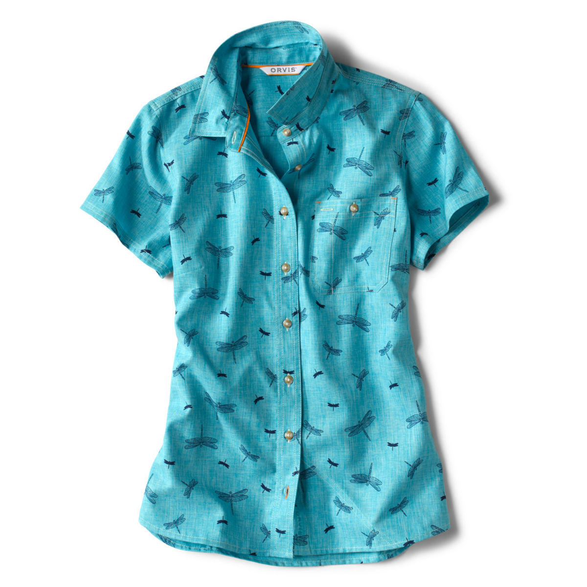 Short-Sleeved Tech Chambray Work Shirt - SEA GLASSimage number 0
