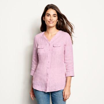 Lightweight Linen Three-Quarter-Sleeved Shirt -  image number 0