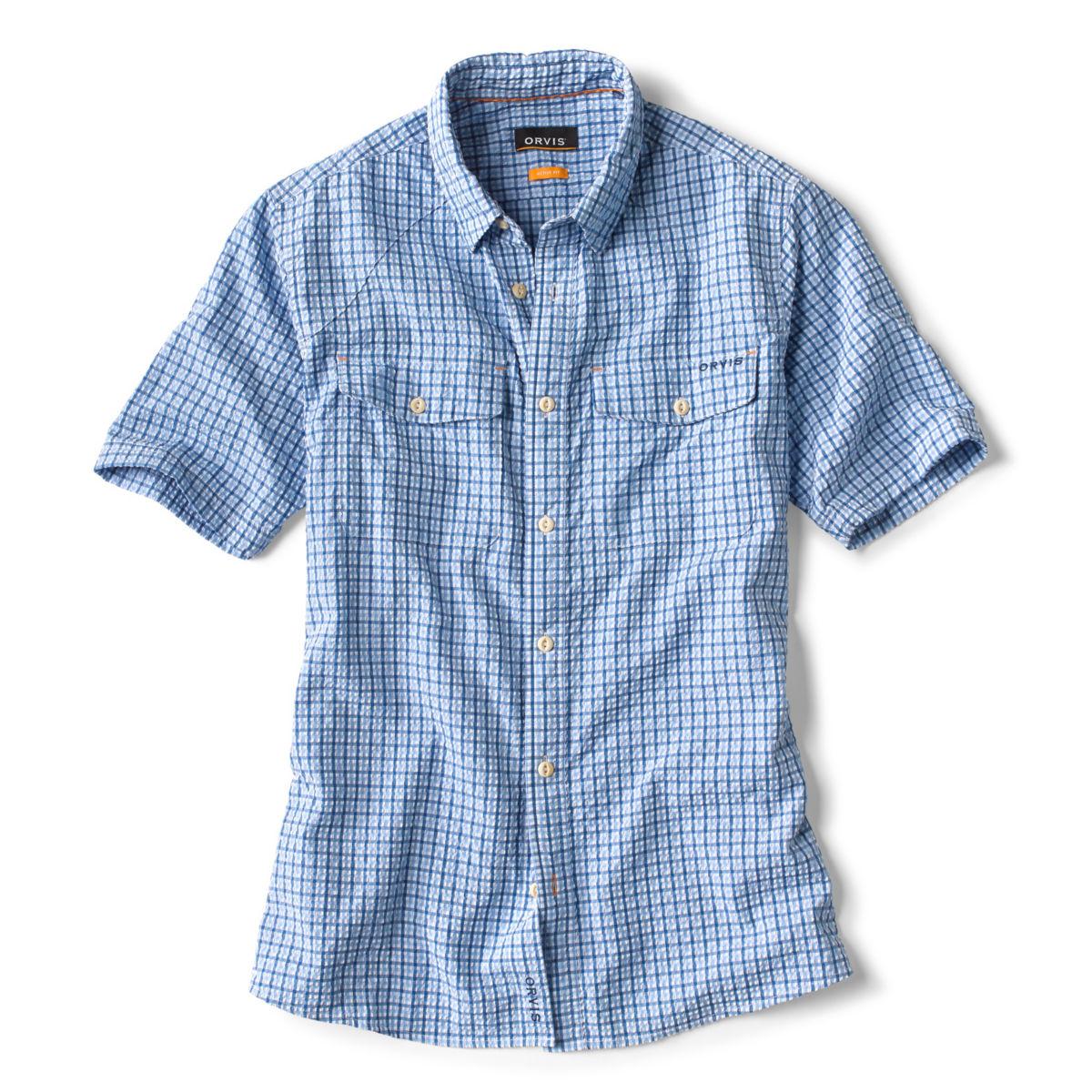 Clearwater Seersucker Short-Sleeved Shirt - MEDIUM BLUE TATTERSALLimage number 0