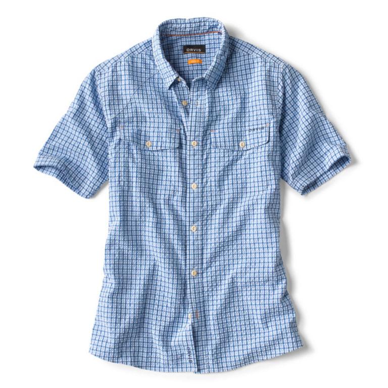 Clearwater Seersucker Short-Sleeved Shirt - MEDIUM BLUE TATTERSALL image number 0