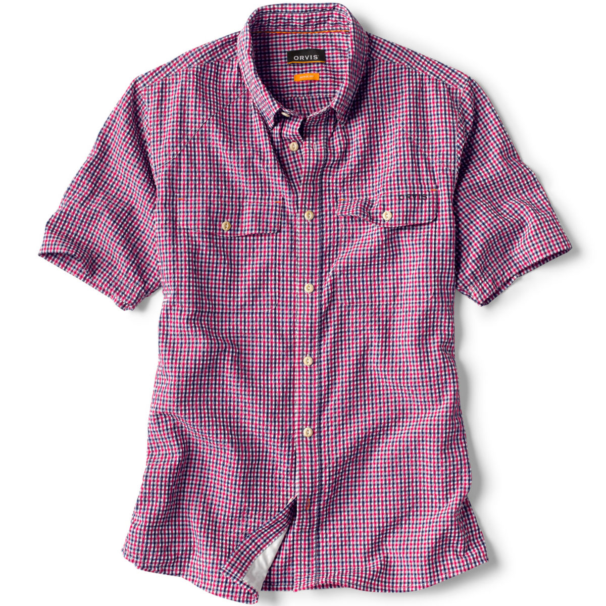 Clearwater Seersucker Short-Sleeved Shirt - RED/WHITE/BLUEimage number 0