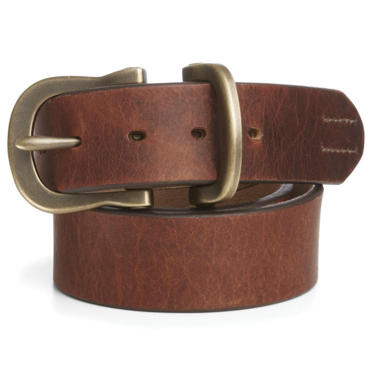 Saddle-Leather Jeans Belt - BROWNimage number 0