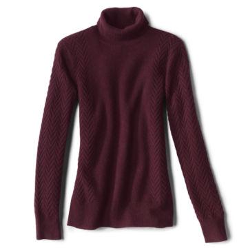 Herringbone-Stitch Cashmere Turtleneck Sweater -  image number 4