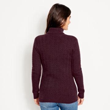 Herringbone-Stitch Cashmere Turtleneck Sweater -  image number 2