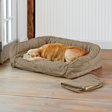 Orvis Memory Foam Bolster Dog Bed with Snap-Off Pads -