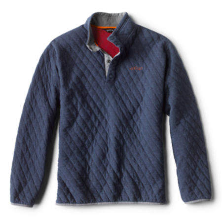 navy quilted sweatshirt with red trim detail on white background