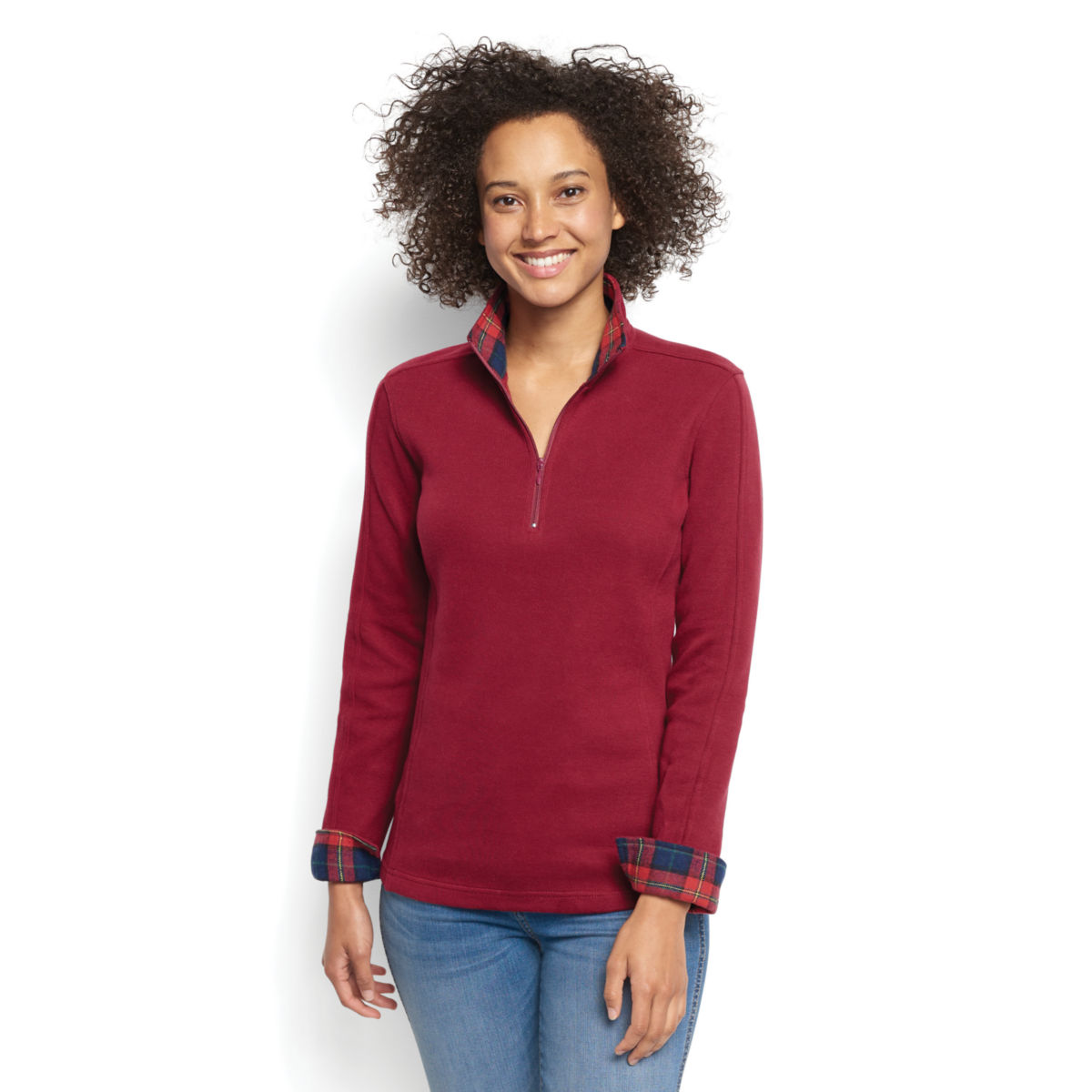 Signature Softest Print-Trimmed Quarter-Zip Sweatshirt - image number 0