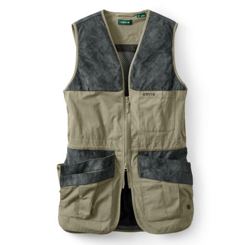 A grey and khaki hunting vest