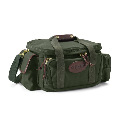 A rugged canvas and leather kit bag