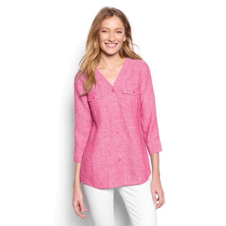 Lightweight Linen V-Neck Shirt -  image number 0