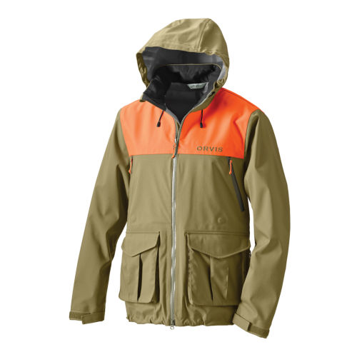An heavy-duty hunting jacket with safety orange shoulders