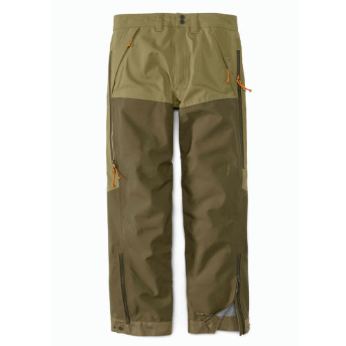 A pair of heavy-duty hunting pants in dark and light olive