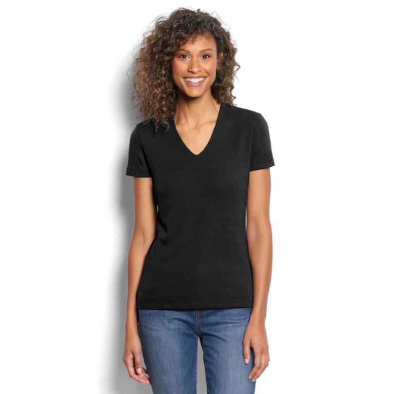 Short-Sleeved V-Neck Perfect Tee - BLACK image number 0