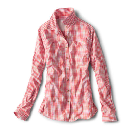 A red and white checkered women's button-up shirt