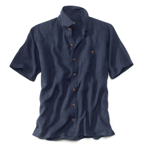 A dark blue short-sleeved shirt