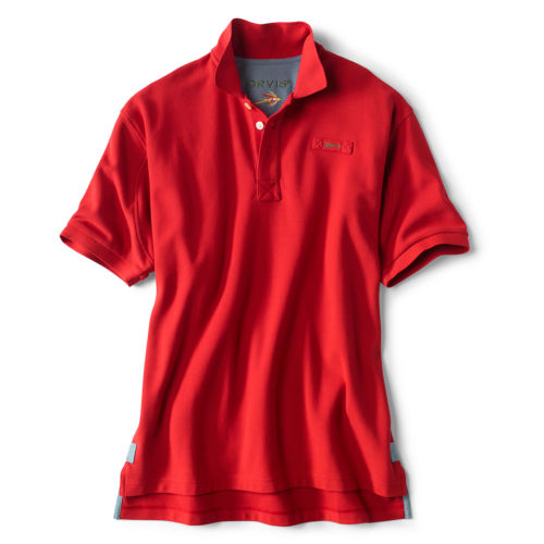 A red polo shirt