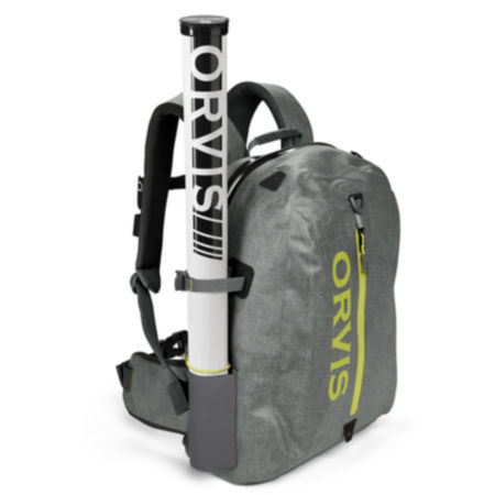 A grey backpack with a fishing rod tube secured along the side