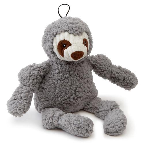 Gray sloth plush dog toy sitting on white background