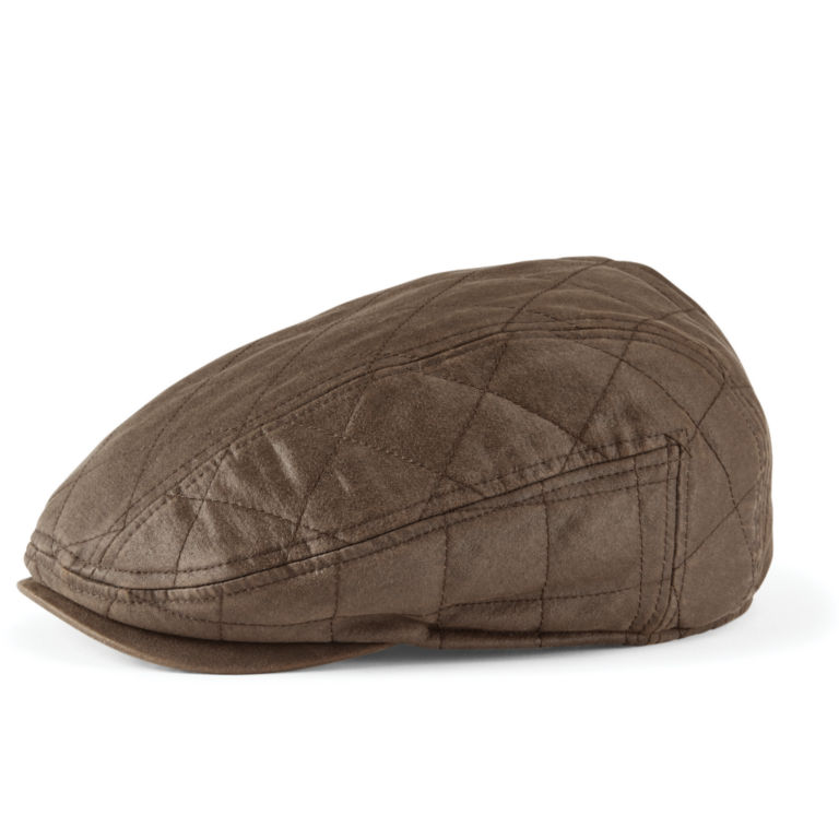 Waxed Cotton Quilted Driving Cap - BROWN image number 0
