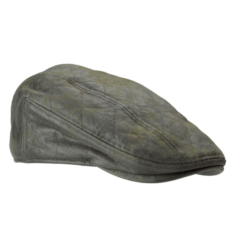 Waxed Cotton Quilted Driving Cap - OLIVE image number 0