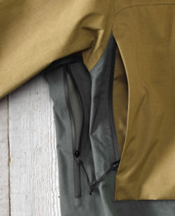 A close-up of the jacket's under-arm ventilation.