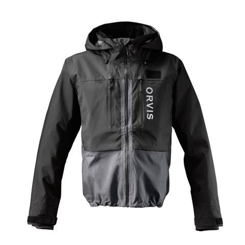 A black and grey men's Pro Wading Jacket