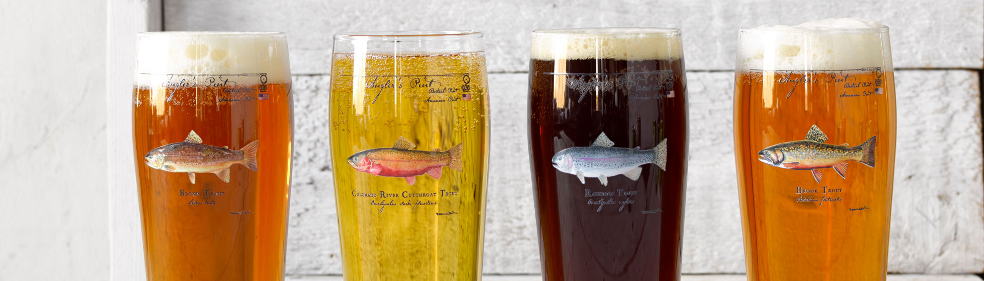 pint glasses full of different kinds of beer lined up in front of a white wood background