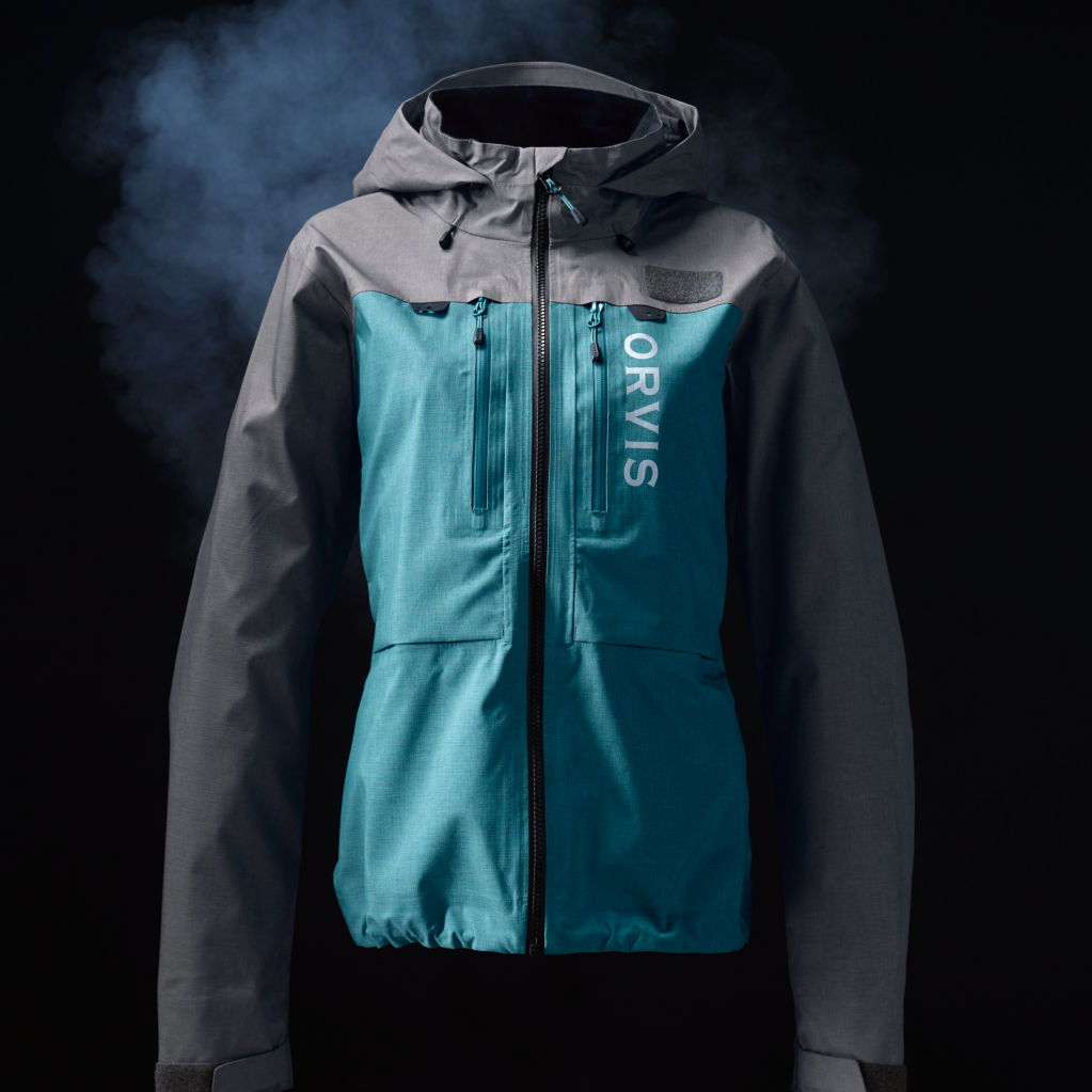 A blue and grey women's Pro Wading Jacket