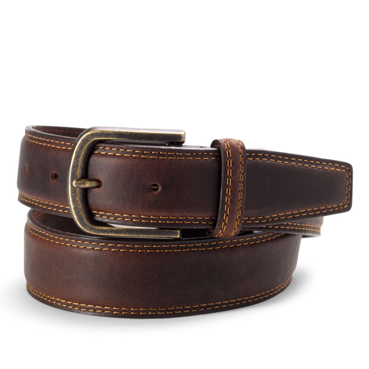 Double Stitch Dress Belt - DARK BROWNimage number 0