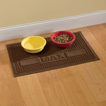 dog mat on floor with food bowls