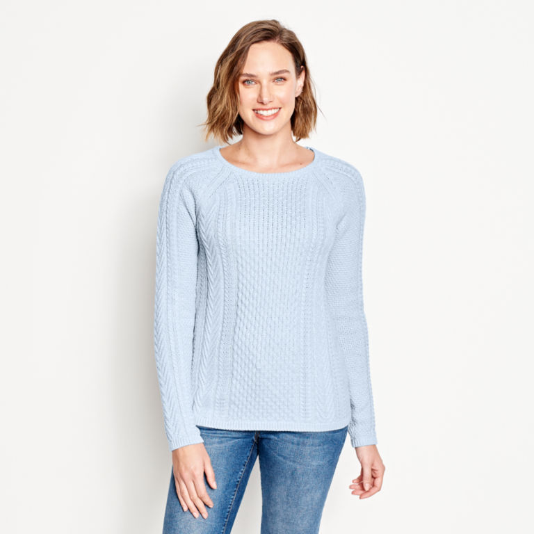 Cotton Cable-Stitch Sweater - BLUE FOG image number 1