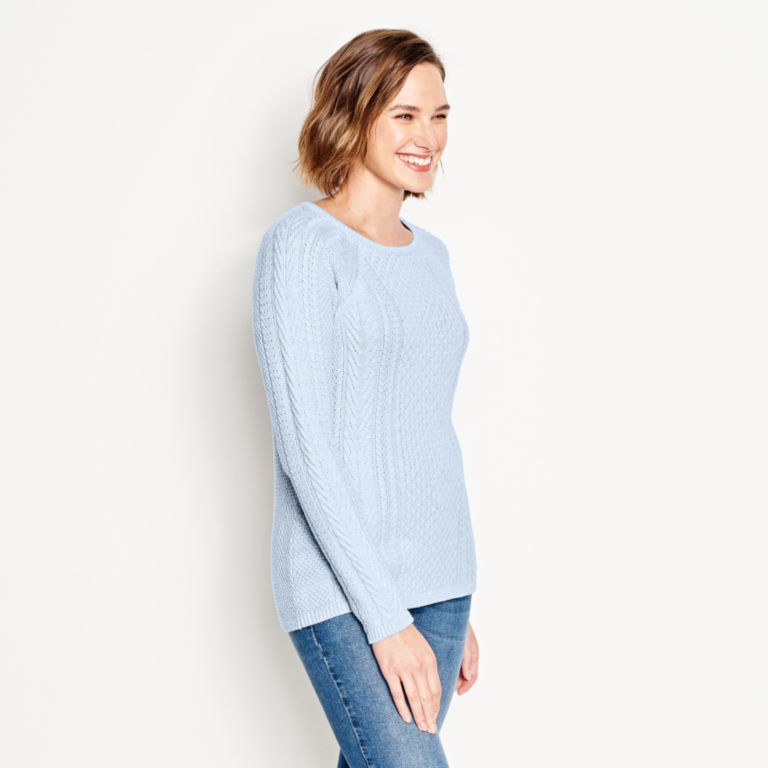 Cotton Cable-Stitch Sweater - BLUE FOG image number 2