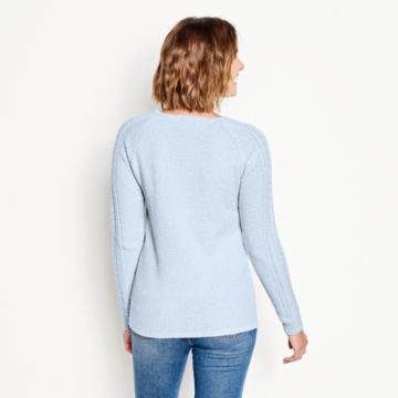 Cotton Cable-Stitch Sweater - BLUE FOG image number 3
