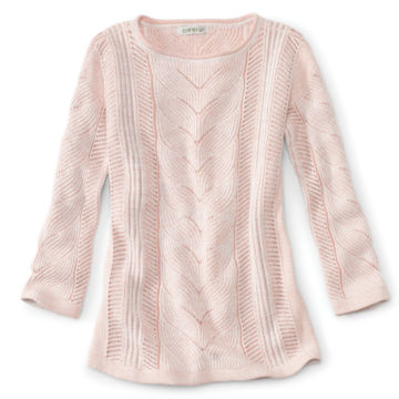 Three-Quarter-Sleeved Plaited Cotton Cable Sweater -  image number 0