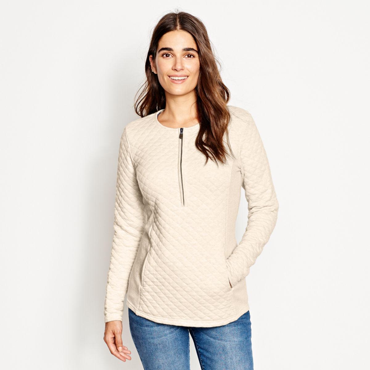 Quilted Henley Half-Zip Sweatshirt - image number 0