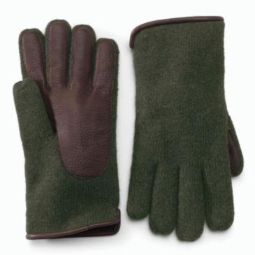 Lambswool/Deerskin Knit Glove -