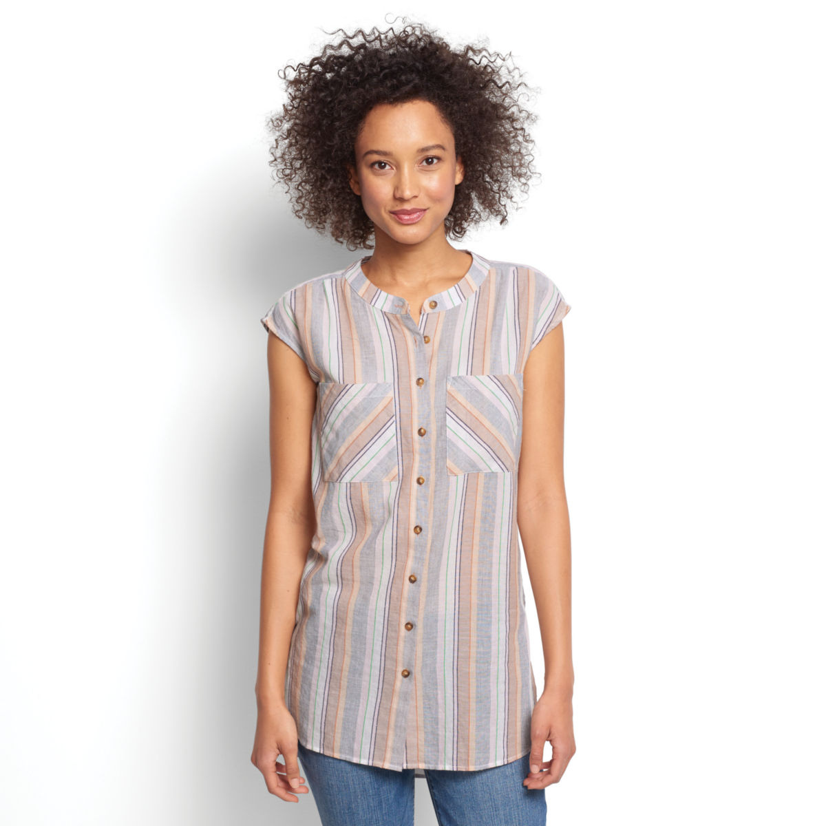 Textured Striped Dolman Tunic - image number 0