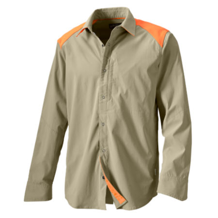 A tan button-up hunting shirt with safety orange shoulders