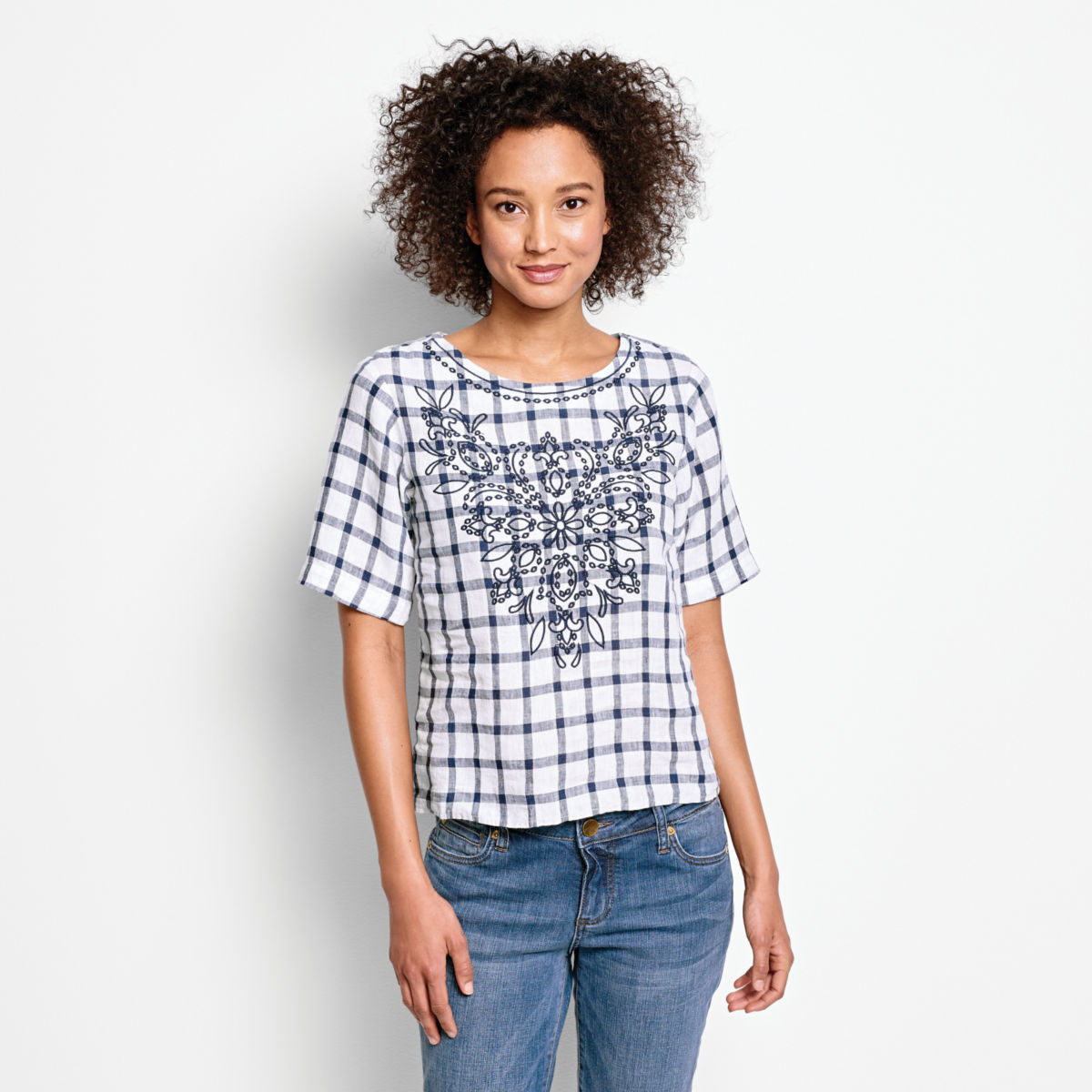 Embroidered Checked Lightweight Linen Sweetwater®  Tee - image number 0