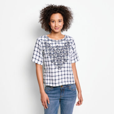 Embroidered Checked Lightweight Linen Sweetwater®  Tee -