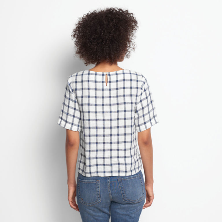 Embroidered Checked Lightweight Linen Sweetwater®  Tee -  image number 2