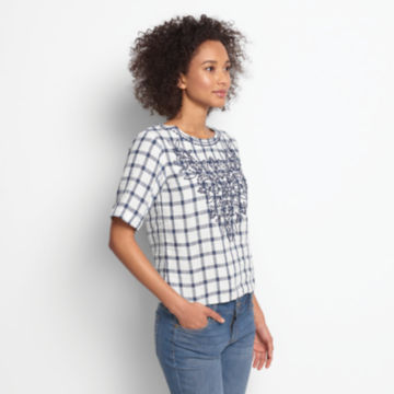 Embroidered Checked Lightweight Linen Sweetwater®  Tee -  image number 1