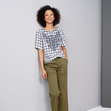 Embroidered Checked Lightweight Linen Sweetwater®  Tee -  image number 3